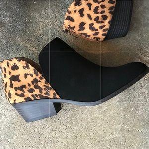 Soda Mafic Animal Print Low Heel Ankle Boot Bootie
